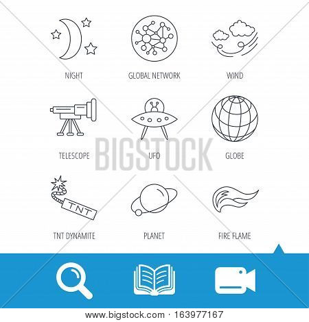 Ufo, planet and telescope icons. World, global network and night linear signs. TNT dynamite, fire flame and wind flat line icons. Video cam, book and magnifier search icons. Vector