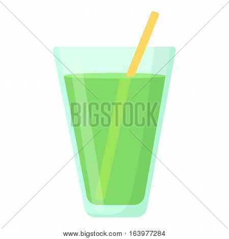 Juice in glass icon. Cartoon illustration of juice in glass vector icon for web