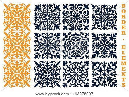Ornamental floral pattern border elements. Curled and curved decorative openwork decoration borders Seamless tile of stylized leaves, branches, tendrils for certificate, diploma frames, interior decor