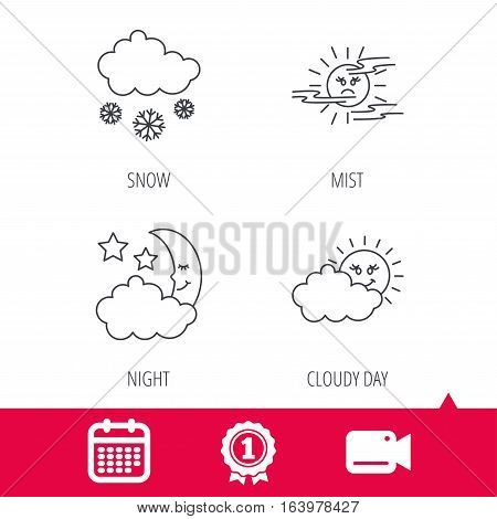 Achievement and video cam signs. Weather, mist and snow icons. Moon night, clouds linear signs. Calendar icon. Vector