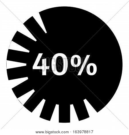 Forty percent download icon. Simple illustration of forty percent download vector icon for web