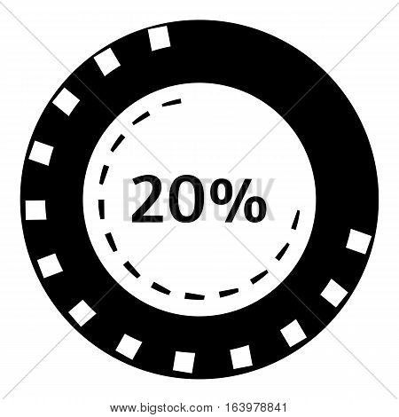 Twenty percent download icon. Simple illustration of twenty percent download vector icon for web