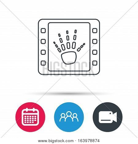 Hand X-ray icon. Human skeleton sign. Group of people, video cam and calendar icons. Vector