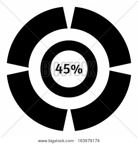 Forty five percent download icon. Simple illustration of forty five percent download vector icon for web