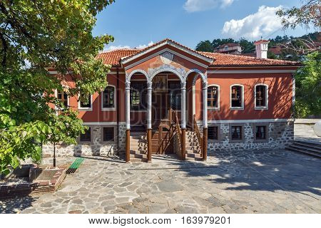 PERUSHTITSA, BULGARIA - SEPTEMBER 4 2016: The building of Danov School from the 19th century, Perushtitsa, Plovdiv Region, Bulgaria