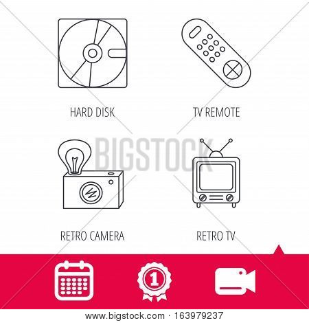 Achievement and video cam signs. Hard disk, retro camera and TV remote icons. Vintage TV linear sign. Calendar icon. Vector