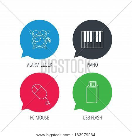 Colored speech bubbles. Alarm clock, USB flash and PC mouse icons. Piano linear sign. Flat web buttons with linear icons. Vector
