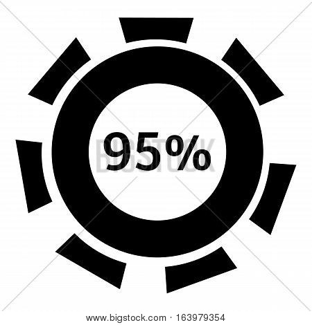 Ninety five percent download icon. Simple illustration of ninety five percent download vector icon for web