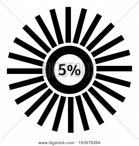 Five percent download icon. Simple illustration of five percent download vector icon for web
