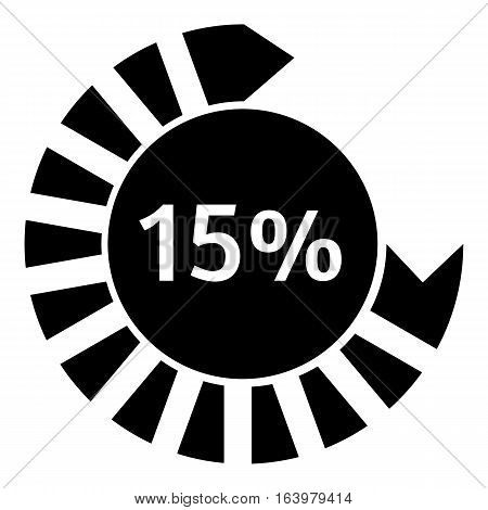 Fifteen percent download circle icon. Simple illustration of fifteen percent download circle vector icon for web