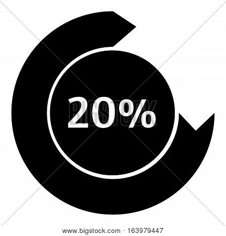 Twenty percent download internet icon. Simple illustration of twenty percent download internet vector icon for web