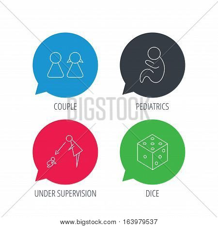 Colored speech bubbles. Couple, paediatrics and dice icons. Under supervision linear sign. Flat web buttons with linear icons. Vector