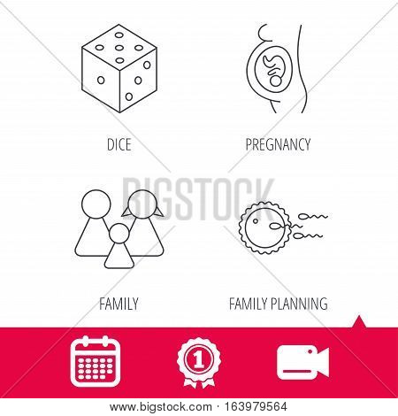 Achievement and video cam signs. Pregnancy, family and family planning icons. Dice linear sign. Calendar icon. Vector