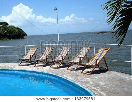 Poolside on an island - Rock Island - on Lake Nicaragua.