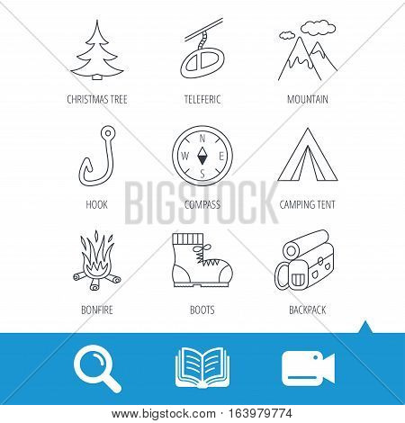 Mountain, fishing hook and hiking boots icons. Compass, backpack and bonfire linear signs. Camping tent, teleferic and christmas tree icons. Video cam, book and magnifier search icons. Vector