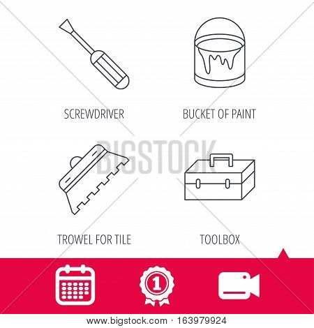 Achievement and video cam signs. Screwdriver, trowel of tile and repair toolbox icons. Bucket of paint linear sign. Calendar icon. Vector