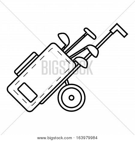Cart for golf clubs icon. Outline illustration of cart for golf clubs vector icon for web