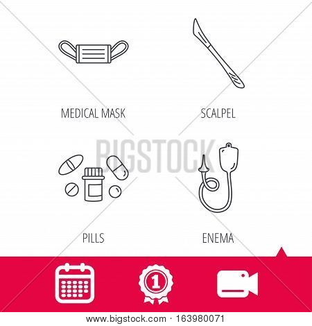 Achievement and video cam signs. Medical mask, pills and scalpel icons. Enema linear sign. Calendar icon. Vector