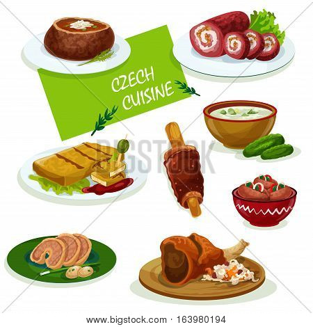 Czech cuisine traditional pork knee icon served with sauerkraut and pickled sausage, fried cheese, stuffed carp, cold cucumber soup, beef roll, tomato soup and spit cake