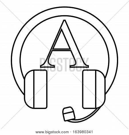 Language learning in headphonese icon. Outline illustration of language learning in headphones vector icon for web
