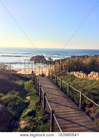 View of the Atlantic Ocean at San Paio, Portugal