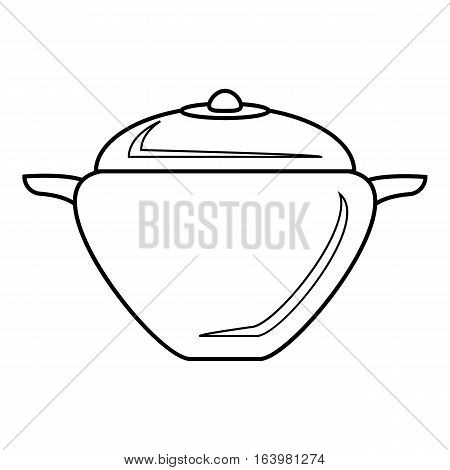 Pot with lid icon. Outline illustration of pot with lid vector icon for web