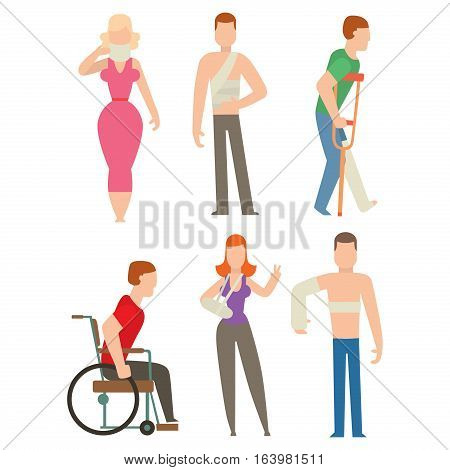 Trauma accident and human body safety vector silhouette. Cartoon flat style people health medical treatment medicine care illustration isolated on white background.
