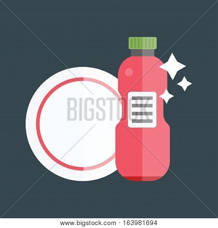 Color cosmetic bottle template, cap container design. Plastic cream package object. Blank empty dummy glass box flat medicine water advertising vector tableware.