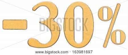 Percent Off. Discount. Minus 30 Thirty Percent, Numerals Isolated On White Background