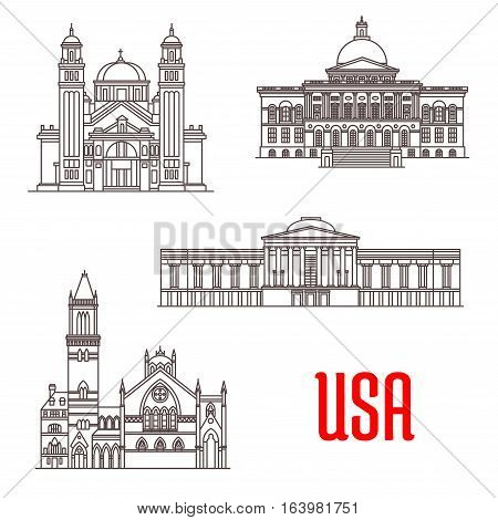 USA american architecture landmarks. St. James Cathedral, Massachusetts State House, National Gallery of Art, Old South Church. Vector thin line icons of famous buildings for souvenirs, postcard