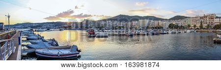 Panoramic of Kavala Harbor in Greece at sunset