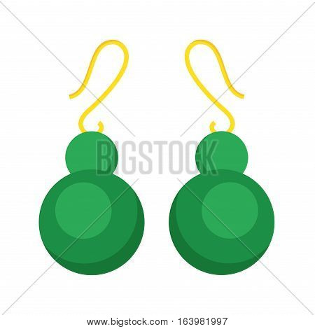 Earrings beautiful gold accessory isolated. Emerald elegant and fashion bijouterie on background. Luxury decoration glamour vector treasure jewelry.
