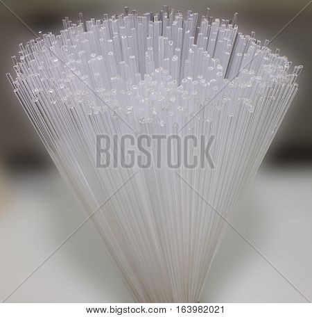 Close-up glass capillary tubes, selective focus, medical equipment