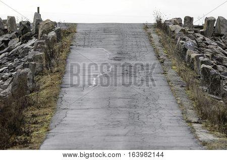 Road over hurricane barrier on Egypt Lane in Fairhaven Massachusetts