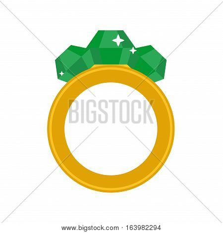 Precious ring with stone colored gems isolated on white background. Vector wedding precious icon. Flat design jewelry accessory beautiful present.