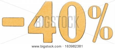 Percent Off. Discount. Minus 40 Forty Percent, Numerals Isolated On White Background