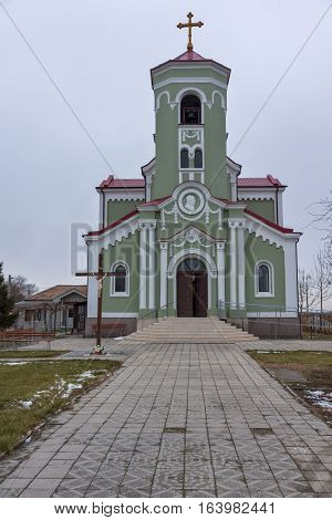 RAKOVSKI, BULGARIA - DECEMBER 31 2016: The Roman Catholic church Immaculate Conception of the Virgin Mary in town of Rakovski, Bulgaria