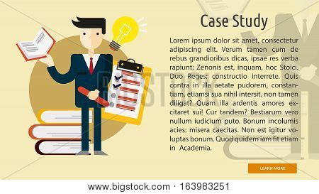 Case Study Conceptual Banner | Great flat illustration concept icon and use for business, people, marketing, working, idea, event and much more.
