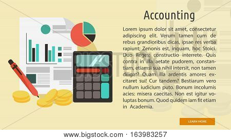 Accounting Conceptual Banner   Great flat illustration concept icon and use for business, marketing, working, idea, event and much more.