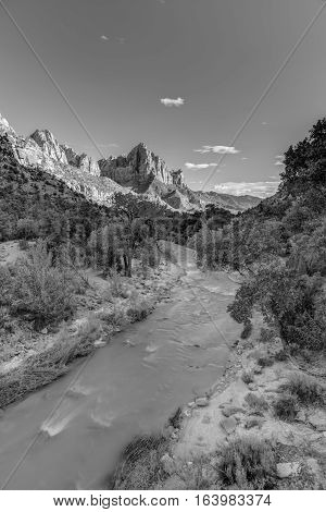 Sunset falls over Zion Canyon and the Virgin River in Utah Photographed in Black and White.