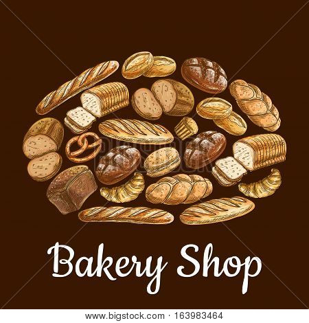 Bakery shop emblem in shape of bread loaf with vector sketch elements of bread and bakery products wheat and rye bread bricks and bagels, pretzel, fresh baked bun on brown background