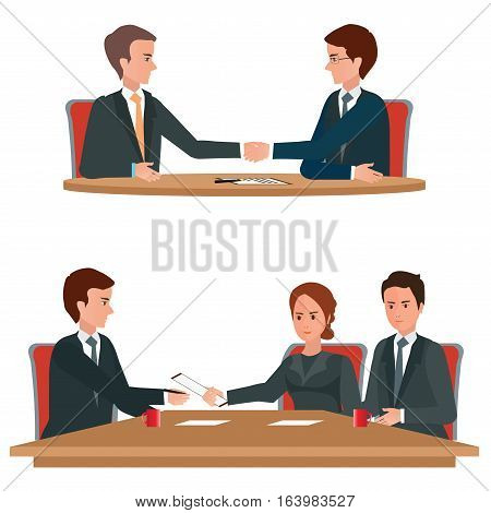 Successful business negotiations over a round negotiations table Business handshake signed contractconceptual isolated on white background. character flat design vector illustration.