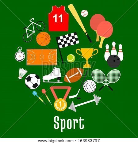 Sport symbols and sporting items in a shape of circle with balls for soccer and volleyball, basketball and tennis, baseball and bowling, hockey puck and bicycle, trophy, darts, rackets, racing flag