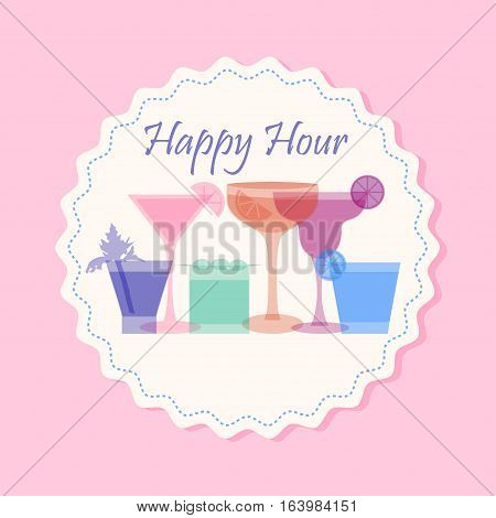 Happy hour flyer template with cocktail silhouettes of bright colors. Stock vector illustration in vintage retro style.