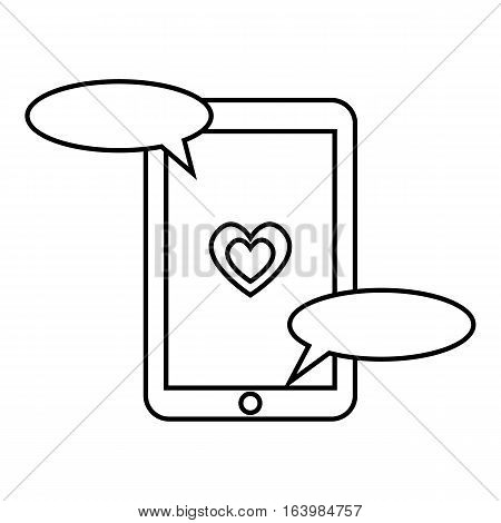 Communication in mobile phone icon. Outline illustration of communication in mobile phone vector icon for web
