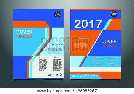 Abstract  Blue And Orange Presentation Book Cover Templates