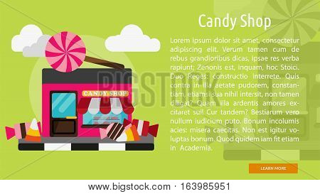 Candy Shop Conceptual Banner | Great flat icons with style long shadow icon and use for building, construction, public places, station, store, and much more.