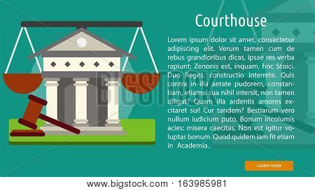 Courthouse Conceptual Banner | Great flat icons with style long shadow icon and use for building, construction, public places, station, store, and much more.