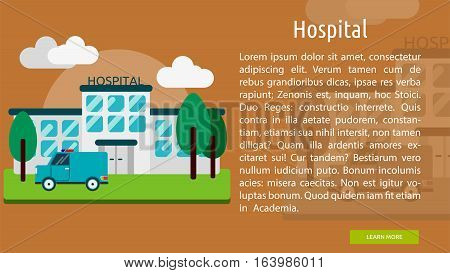 Hospital Conceptual Banner | Great flat icons with style long shadow icon and use for building, construction, public places, station, store, and much more.