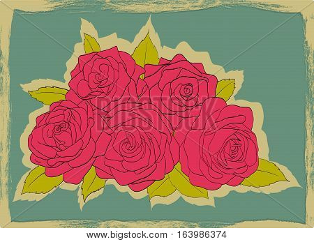 Vintage card with frayed edges. Bouquet of pink roses with leaves on a blue background